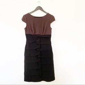 Adrianna Papell Body Con Plum Black Tiered Dress